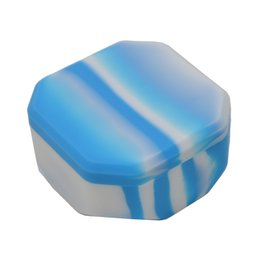 Wholesale rubber slicker - FDA 110ml Octagon Bho Silicone Wax container for butane Slick oil Concentrate have two Pattern Non stick Rubber Dab wax jar