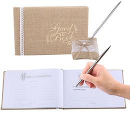 Konuk Kaligrafi Kitap Çuval Bezi Kumaş Dantel Çiçekler Doğum Günü Partisi Resepsiyon Düğün Ev Dekorasyon İmza Ziyaretçi Defteri ile nereden sevimli planlayıcı kitap tedarikçiler