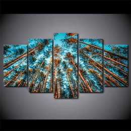 Wholesale Giant Art Prints - HD Printed 5 Piece Canvas Art Giant Trees Forest Canvas Painting Wall Pictures for Living Room Modern Free Shipping