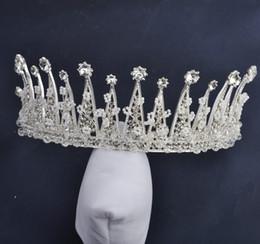 2019 jóia chinesa do cabelo do casamento Pageant Rainha Da Coroa De Cabelo De Noiva Jóias Princesa Coroa Chinês Acessórios Para o Cabelo de Casamento de Prata Cabeça de Cristal Tiara Pérola Menina desconto jóia chinesa do cabelo do casamento