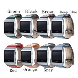 Wholesale Quick Watch - For Fitbit Ionic Leather strap Smart watch wrist Straps Smart watch band Accessory Bracelet Quick Release Watchband black ..7 color