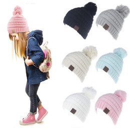 Wholesale Crochet Skull Caps - 6 Colors Kids CC Pom Poms Beanie Trendy Knitted Chunky Skull Caps Winter Cable Slouchy Crochet Hats Outdoor Oversized Hats CCA8547 30pcs