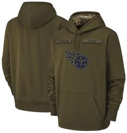 Cappuccio in titanio online-2018 uomini Tennessee Sweatshirt Titans Salute al servizio di Sideline Therma Performance Pullover Felpa con cappuccio Olive