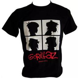Faixa branca dos homens camisetas on-line-Gorillaz Rock Band Tees rap hip homens hop Branco gráfico preto camisetas Gorillaz Mens Casual Cotton Verão Estilo Plus Size Shirts
