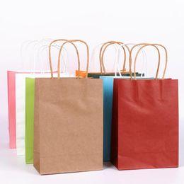 2019 bolsas de papel de regalo asas de navidad 5 Unids Multicolor Kraft Bolsas de regalo de papel con asas DIY Multifunción Festival Bolsa de regalo de Halloween Navidad Bolsas de papel bolsas de papel de regalo asas de navidad baratos