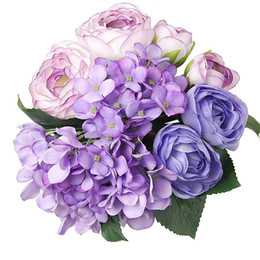 """Wholesale Tea Rose Decoration - Artificial Flowers 12"""" 7 Head Silk Artificial Tea Rose & Hydrangea Bouquet for Wedding, Room, Home, Hotel, Party Decoration and Holiday Gift"""