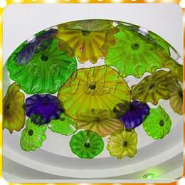 Luces colgantes de color verde amarillo online-Nuevo lujo verde y amarillo de cristal grande araña de luz estilo europeo Chihuly 100% soplado a mano escalera de cristal lámpara colgante de luz LED