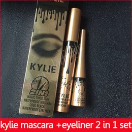 Wholesale halloween mascara - kylie kyliner 2 in 1 mascara set eyeliner birthday edition Black color free shipping