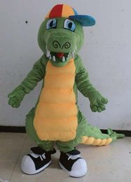 Wholesale green adult mascot costume - 2018 Factory sale hot real photos of adult green crocodile mascot costume with long tail