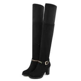 scarponi da donna a ginocchio delle signore Sconti Taglia 33-43 Stivali alti al ginocchio catena femminile sexy Ladies Winter Zip Plus Size Scarpe donna Comfort Dress Boot Donna scarpe tacchi spessi