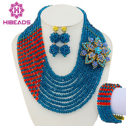 Wholesale bridal jewelry set blue - whole saleTeal Blue Orange Nigerian Wedding African Beads Jewelry Set Costume African Jewelry Sets Bridal Beads Set Free Shipping GS108