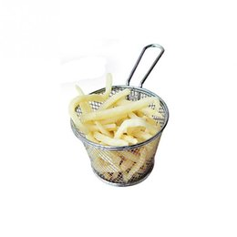 Wholesale French Fry Basket - Round stainless steel Fried baskets Fried sieves Oil leakage food box French fries basket