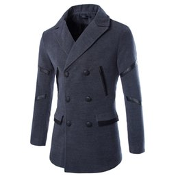 Wholesale Trench Dark Blue - Hot Men Trench Coat Fashion Sleeves Spell Leather Design Mens Long Coat Casual Men's