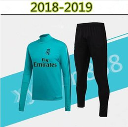 Wholesale soccer trainning - TOP QUALITY 17 18 real madrid tracksuit training sweater suit 2017 2018 real madrid trainning sweater top set jacket RONALDO chandal suit