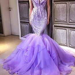 vestidos de fiesta suaves lavanda Rebajas Ligth Lavender 2018 Vestidos de baile Lentejuelas Abalorios Apliques de hombro Fluffy Train Vestido de fiesta Vestidos de noche de sirena saudita encantadora