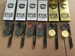 Wholesale Color Eyeliner Gel - Kylie Cosmetics brithday edition kylie kyliner eyeliner and gel Gel pot Brush liner 5 types black  brwon chameleon bronze