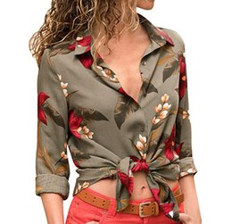 707c83fe1582 Women Vintage Blouse Autumn Long Sleeve Lapel Buttons Boho Floral Shirt  Fashion Top Blusas Mujer  BF