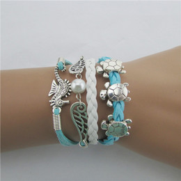 seahorse charm bracelet Coupons - 1pcs DIY Manual Hand-woven Leather Charm Silver Cute Turtle Seahorse Wings Bracelet