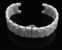 Wholesale Watch Band 18mm White - Concave End Special Watch band Watch accessories Ceramic white watchband diamond general 16mm 18mm 20mm MENS WOMENS