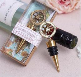 Wholesale bottle stopper wedding favors - New Golden Compass Wine Stopper Wedding Favors And Gifts Wine Bottle Opener Bar Tools Souvenirs For Party Wedding favor gift
