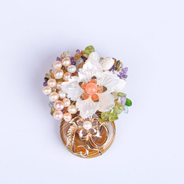 b9c539dfc01 Natural pearl shell brooch corsage crystal zircon cautious dual - use needle  accessories high - end bangtan boys kpop bts hat