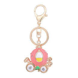 Wholesale pumpkin charm gold - Cartoon Pumpkin Car Keychain Crystal Metal Keychain Keyring Car Keychains Purse Charms Handbag Pendant for Party Holiday Birthday