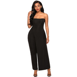 0f58caf14b0 Long Pants Overalls for Women Sexy Red Asymmetric Split Leg Strapless Jumpsuit  2018 New Femme Club Rompers