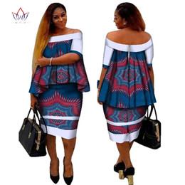 Africana Dashiki Print Mujer Ropa Dos Piezas Tops y Body Corn Dress Nuevo Diseño 2017 Moda Plus Size BintaRealWax WY2400 desde fabricantes