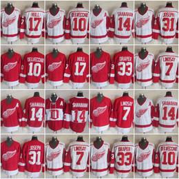 ee72985e CCM Detroit Red Wings 7 Ted Lindsay 33 Kris Draper 17 Hull 10 Alex  Delvecchio 31 Curtis Joseph 14 Brendan Shanahan Hockey Jersey