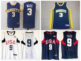 Wholesale University Blue Shirt - Men's Marquette College #3 Dwyane Wade Jersey Navy Blue University Dwyane Wade 2008 USA Dream Team Stitched Basketball Jerseys Shirts