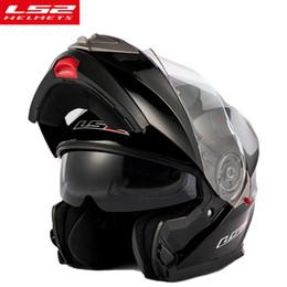 Moto casco flip up online-Casco moto modulare LS2 FF318 dual visor flip up casco moto con scudo interno nero solare originale LS2
