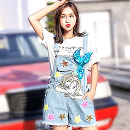 cd4582fcd2 Women Jumpsuit Denim Overalls 2018 Summer Jumpsuits Cartoon Rompers Casual  Sea Maid Shorts Beading Jeans Overall Playsuits discount jumpsuit shorts  jeans ...
