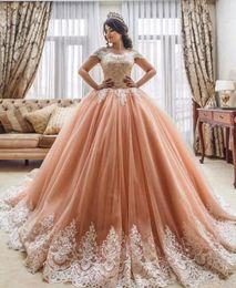 Wholesale 15 anos - Luxury Ball Gown Quinceanera Dress 2018 Jewel Lace Applique Corset Sweep Train Sweet 16 Desses Formal Evening Wear Vestido De 15 Anos Teens