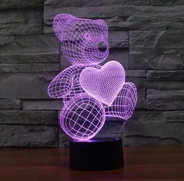 Canada Dessin animé mignon coeur ours forme acrylique LED lampe 3D lumière de nuit bébé sommeil éclairage pour enfants lumière de nuit cadeau d'anniversaire de Noël Offre