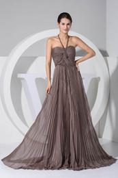 Halter Neck Brown Sexy Images réelles en mousseline de soie robes de demoiselle d'honneur balayage train demoiselle d'honneur formelle robes de mariée robes invité WD1-044 ? partir de fabricateur