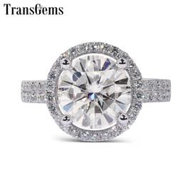 женщины муассанит Скидка Transgems Solid 14K 585 белое золото Cneter 2CT 8 мм f цвет VVS Halo Moissanite обручальное кольцо для женщин золотые кольца с акцентами
