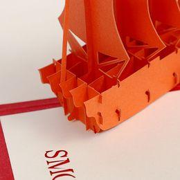 Creativo 3D graduato da biglietti da visita carte di carta può essere stampato logo barca a vela vuota personalizzata da