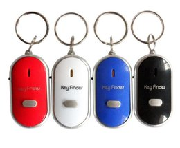 Wholesale Whistle Finder - Anti Lost LED Key Finder Locator 4 Colors Voice Sound Whistle Control Locator Keychain Control Torch