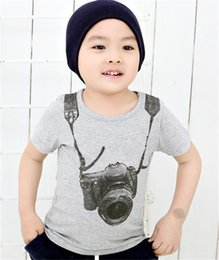 Wholesale Clothing Camera - summer children boy kids camera short sleeve tops O-neck T-shirt tees clothes fit for baby boys 1-6 years old