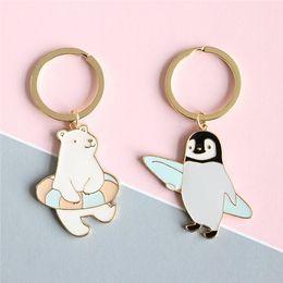 Wholesale penguin keychains - New Trendy Cute Cartoon Keychain Animal penguin Polar bear key ring Jewelry For Women Girls Fit Gift