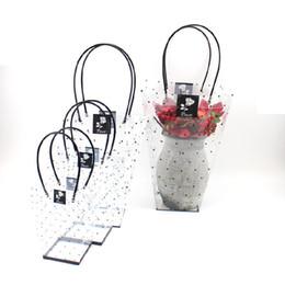 10 PCS Pvc dot trapezoidal saco transparente vaso de flores bonsai flor do presente saco de embalagem sacos frete grátis de