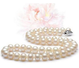 """Wholesale Real Black Sea Pearl Necklace - AAAAA 17"""" 9-10 mm real natural south sea white pearl necklace with silver clasp"""