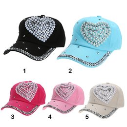 Wholesale Pearls Baseball Cap - New Arrival 2018 Summer Soft Adjustable Unisex Baseball Cap Sports Fashion Casquette Heart Pearl Crystal Decor Hat for Women