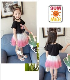Wholesale leopard skirt suits - Baby girls Flamingos outfits children top and lace Tulle skirts 2pcs set Summer suits kids Clothing Sets Flamingos two pieces suit KKA5501