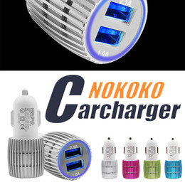 Wholesale Car Charger Amp - NOKOKO Best Metal Dual USB Port Car Charger Universal 12 Volt   1 ~ 2 Amp For Apple iPhone iPad iPod Samsung Galaxy Nokia Htc
