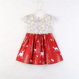 baby christmas desfile Rebajas Vestido de navidad para niñas 2018 Nueva Toddler Baby Girl Clothes Princess Deer Estampado floral Bow Party Pageant Baby Girls Vestidos Ropa para niños