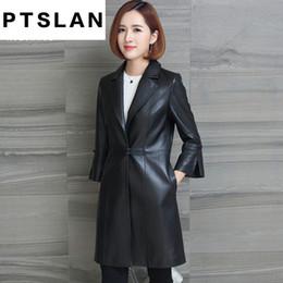 Wholesale Sheepskin Coats For Women - Genuine Leather Coat for Women Spring Fashion Classic Long Sleeve Slim Coat Ladies Leather Windbreak Sheepskin Jacket
