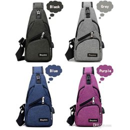 sling packs Coupons - Men USB Chest Bag Sling bag Large Capacity Handbag Crossbody Bags Shoulder Bag Charger Messenger Bags 6 Colors New Hot