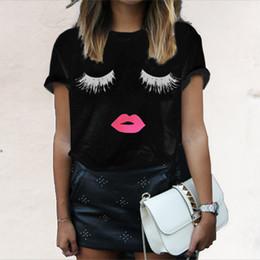camisas pretas dos bordos Desconto Verão Mulheres Preto Branco Camisetas Moda Eyeflash Lips Impresso Tops Tees de Manga Curta T camisas