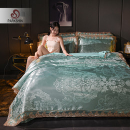 Jacquard azul comforter conjuntos on-line-Venda Por Atacado Conjuntos de cama Consolador Tencel Silk Luxury Duvet Cover Folha de cama Venda quente Rainha King Double Blue Jacquard Roupa de Cama Set
